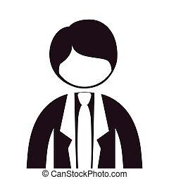 тело, силуэт, половина, костюм, галстук, человек