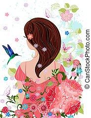 темно, волосы, дизайн, симпатичная, девушка, цветы, ваш