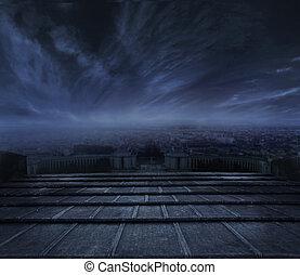 темно, городской, над, clouds, задний план