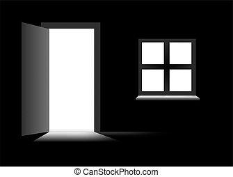 темно, дверь, комната