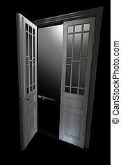 темно, дверь, комната, лестница