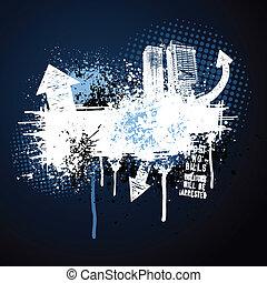 темно, синий, рамка, гранж, город