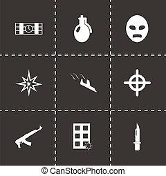 терроризм, вектор, черный, задавать, icons