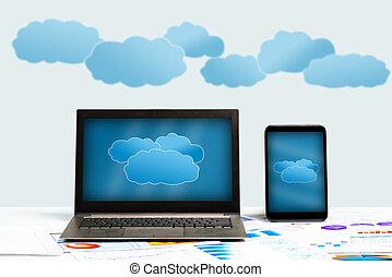 технологии, концепция, облако