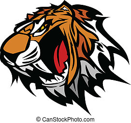 тигр, вектор, талисман, графический