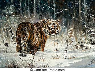 тигр, дерево, зима