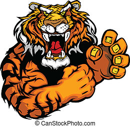 тигр, образ, вектор, талисман