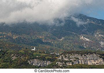 тироль, peaks, cloudscapes, покрытие, область, гора, юг, italy., пейзаж