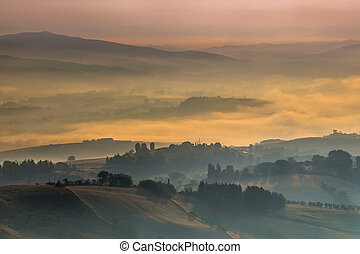 тоскана, над, утро, туман, италия, hills
