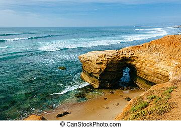 точка, loma, парк, тихий океан, cliffs, океан, калифорния, пещера, натуральный, вдоль, закат солнца