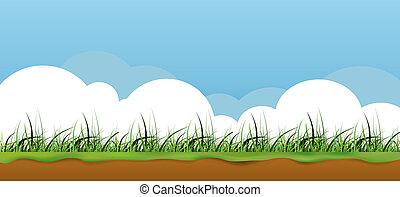 трава, баннер, красочный, природа