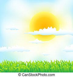 трава, весна, clouds, задний план, солнце