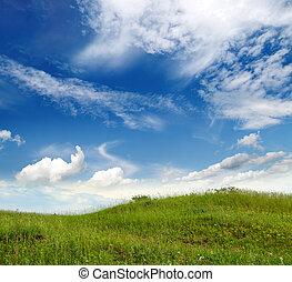 трава, зеленый, холм