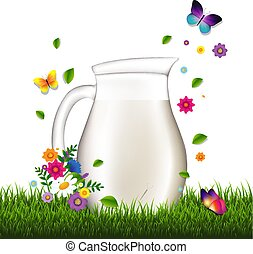 трава, кувшин, задний план, белый, цветы, молоко