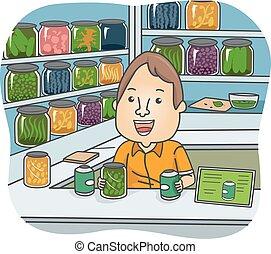 травяной, лекарственное средство, магазин, иллюстрация, человек