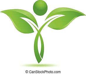 травяной, логотип, натуральный, leafs, зеленый