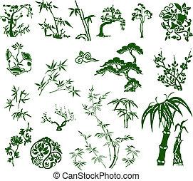 традиционный, бамбук, классический