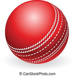 традиционный, крикет, мяч, блестящий, красный