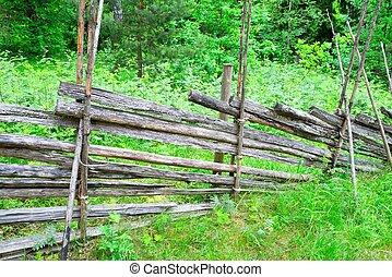 традиционный, сельский, финский, забор, деревянный