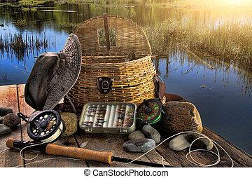 традиционный, стержень, fly-fishing, поздно, оборудование, после полудня
