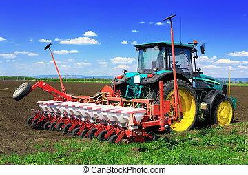 трактор, plowing, рано, поля, spring.
