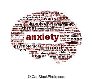 тревога, умственный, символ, isolated, здоровье, белый