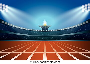 трек, иллюстрация, генеральная, вектор, стадион, ночь, фронт, легкая атлетика, view.