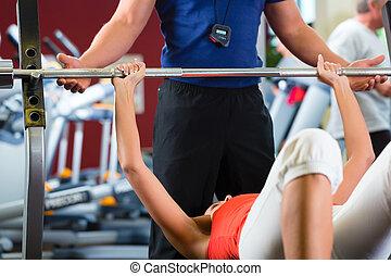 тренер, личный, гимнастический зал, женщина