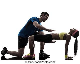 тренер, разрабатывать, exercising, s, женщина, фитнес, должность, доска, человек
