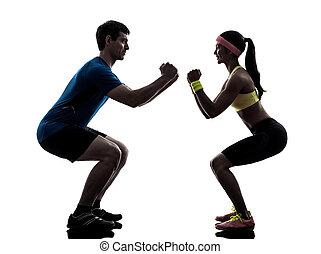тренер, силуэт, разрабатывать, exercising, женщина, фитнес, человек
