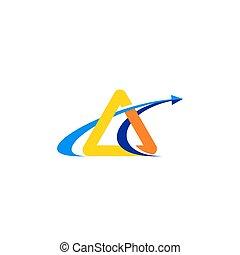 треугольник, финансы, символ, современное, иллюстрация, вектор, дизайн, стрела, логотип, значок