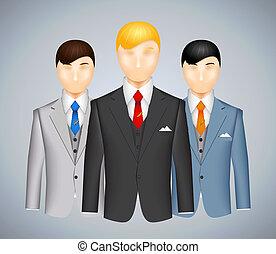 трио, suits, businessmen