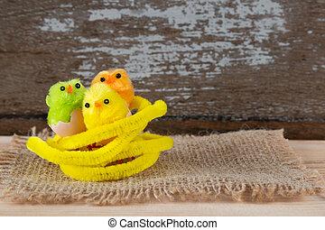 три, цветной, пасха, chicks, немного