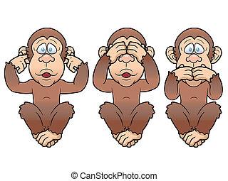три, monkeys