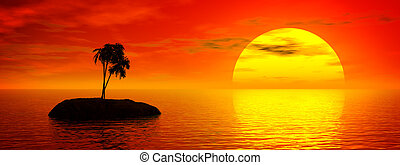 тропик, закат солнца