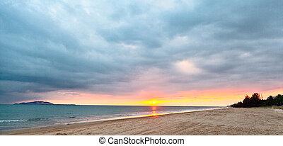 тропический, закат солнца, море