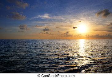 тропический, закат солнца, пляж