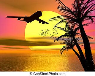 тропический, закат солнца, airplane.