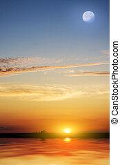 тропический, красивая, пляж, sunset.