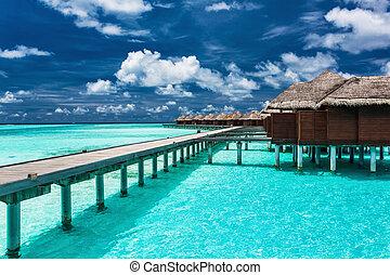 тропический, лагуна, мол, overwater, villas