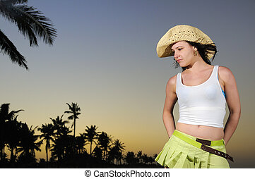 тропический, латиноамериканец, пляж, закат солнца, красота