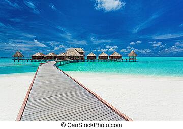 тропический, мальдивы, villas, overwater, лагуна