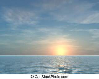 тропический, открытый, восход, задний план, море