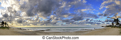 тропический, панорамный, пляж, закат солнца, куба