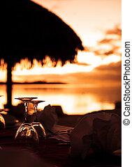 тропический, пляж, glasses, закат солнца, вино