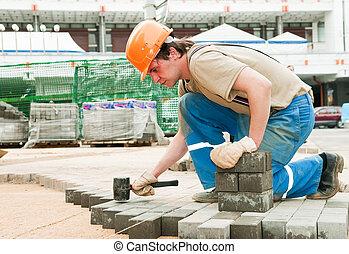 тротуар, строительство, тротуар, работает
