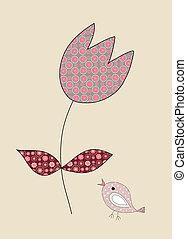 тюльпан, немного, иллюстрация, милый, птица