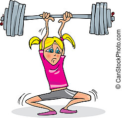 тяжелый, девушка, lifting, вес