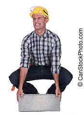 тяжелый, строительство, работник, блок, lifting