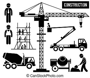 тяжелый, строительство, pictogram
